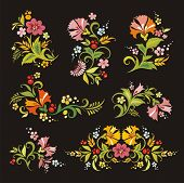 Vector floral ornamental set in vintage style, great for layout embellishment.