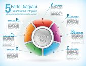 Multicolor segmented wheel template for presentations with five parts with attached text information boxes