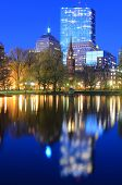 Skyline of Boston, Massachusetts from the Boston Public Gardens.