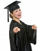 Smiling Graduation Student Woman Pointing On You Isolated