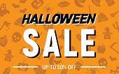 Halloween 50 Percent Sale, Halloween Discount Background, Halloween Offer Banner, Vector Illustratio poster