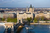 Budapest, panorama on the Chain Bridge and the Danube River, the Gresham Palace and the St. Stephen'