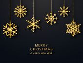 Merry Christmas Greeting Card With Hanging Glitter Snowflakes. Bright Gold Baubles On Black Backgrou poster