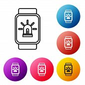 Black Line Smart Watch With Smart House And Alarm Icon Isolated On White Background. Security System poster