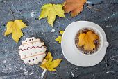 Autumn Still Life. Cup Of Tea With Maple Autumn Leaves And Inscription Hello Autumn On The White Bac poster