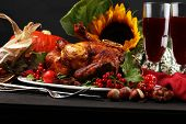 Baked Turkey Or Chicken. The Thanksgiving Table Is Served With A Turkey, Decorated With Fruits, Sala poster