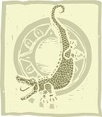 picture of alligator  - Woodblock print style alligator or crocodile with circle - JPG