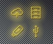 Neon Storage Data Signs Vector Isolated On Brick Wall. Cloud Data, Storage, Device, Connect Light Sy poster