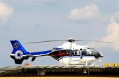 stock photo of medevac  - A life flight helicopter getting ready for takeoff - JPG