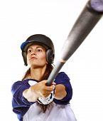 image of softball  - Woman baseball or Softball player swinging a bat isolated on white - JPG