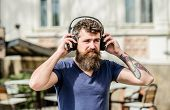 Man Bearded Hipster Headphones Listening Music. Hipster Enjoy Excellent Sound Song In Earphones. Wal poster