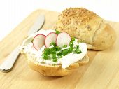Sandwich With Cottage Cheese And Radish