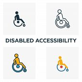 Disabled Accessibility Outline Icon. Thin Style Design From City Elements Icons Collection. Pixel Pe poster