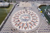 The Wind Rose On The Square Of The Monument To The Discoveries In Lisbon In Tilt-shift poster
