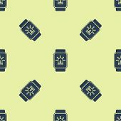 Blue Smart Watch With Smart House And Alarm Icon Isolated Seamless Pattern On Yellow Background. Sec poster