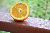 Orange, Half Of Orange, Orange Lobule And Basket With Oranges On The Wooden Table On The Green Blurr poster
