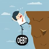 Business Man With Debt Falling From Cliff Concept. Debt Bring Down. Businessman Try Hard To Hold On  poster