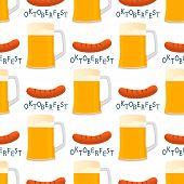 Illustration On Theme Big Colored Pattern Oktoberfest, German Holiday It Fest Sausage. Pattern Consi poster