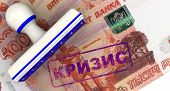 Crisis. Seal And Imprint On The Russian Banknote. Translation Text: crisis. The Seal And Blue Impr poster