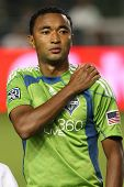 CARSON, CA. - AUG 14: Seattle Sounders D (7) JAMES RILEY before the Chivas USA vs Seattle Sounders game on Aug 14 2010 at the Home Depot Center in Carson.