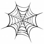 Vector Illustration Of Black Cobweb Isolated On White Background. Line Art Of Spider Web For Hallowe poster