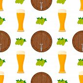 Illustration On Theme Big Colored Pattern Oktoberfest, German Holiday It Fest Barrel. Pattern Consis poster