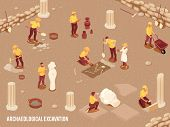 Archeology Isometric Background With Archeological Excavation Of Ancient Artifacts Process 3d Vector poster