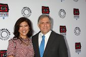 LOS ANGELES - APR 12:  Julie Chen, Les Moonves arrives at Warner Brothers
