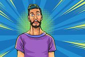 Pop Art Man Screams In Horror, Panic Face.shocked Hipster Bearded American Businessman Says Comic Cl poster