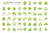 Ecology Flat Icons Set. Fifty Green Ecology Flat Icons On A White Background. Ecological Signs Symbo poster