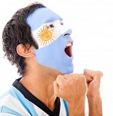 Argentinean man shouting a goal - isolated over a white background