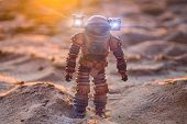 Astronaut On A Sandy Planet, Sunset, Space Exploration poster