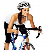 Happy hispanic woman cyclist on a road bike in studio, isolated on white
