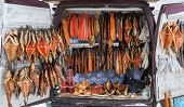 Smocked Fish For Sale From Back Of A Van. Smolensk Highway. Russia.