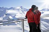 Skiers Enjoying The Winter Mountain Panorama At Kitzsteinhorn Peak, Austria