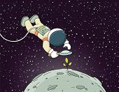 Sketch Of Astronaut With Loupe. Doodle Cute Scene About Space Reseach. Hand Drawn Cartoon Vector Ill poster