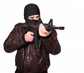 stock photo of m4  - portrait of criminal with m4 rifle on white - JPG