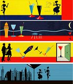 A set of Retro Cocktail Hour Web Banner Illustrations