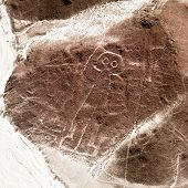 The Spaceman Or Space Man, Nazca Or Nasca Mysterious Lines And Geoglyphs Aerial View, Landmark In Pe poster