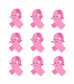Cartoon Pink Ribbon Character Set. Breast Cancer Awareness Month Campaign. Icon Design For Poster, B poster
