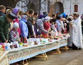 ISTRA, RUSSIA - APRIL 14, 2012: Easter cakes and eggs consecration in the  New Jerusalem Monastery o