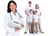 Family doctor woman. Health care. Isolated on white background.