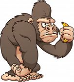 Cartoon gorilla. Vector clip art illustration with simple gradients. All in a single layer.