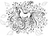 hand drawn horse background