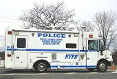 NYPD mobile command center  providing security in hurricane devastated area in Breezy Point, NY