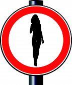 Senhora de sinalização de trânsito