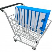 A shopping cart or basket with the word Online inside it to represent e-commerce, internet purchasing, or a web based store for ordering products and merchandise
