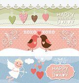 set of horizontal valentine banners