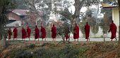 Eleven Monks Walking