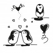 valentine's day cartoons set, cute penguins in love